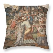 Mural Painting Abbey Fontevraud Throw Pillow