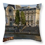 Musee D'orsay Along River Seine Throw Pillow