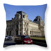 Musee Du Louvre In Paris France Throw Pillow