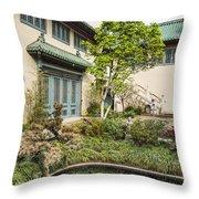 Museum Courtyard - Beautiful Courtyard Of The Pacific Asia Museum In Pasadena. Throw Pillow