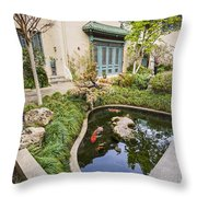 Museum Koi - Courtyard Of The Pacific Asia Museum In Pasadena. Throw Pillow