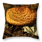 Mushroom And Leaf Throw Pillow