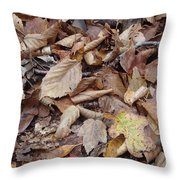 Mushroom And Leaves Throw Pillow