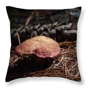 Mushroom And Pine Cone Throw Pillow