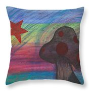Mushroom And Star Throw Pillow