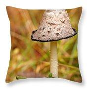 Shaggy Mane Mushroom Throw Pillow