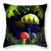 Mushroom Town Throw Pillow