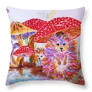 Mushrooms And Hedgehogs Throw Pillow