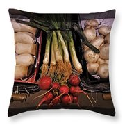 Mushrooms And Radishes Framed Throw Pillow
