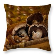Mushrooms In A Basket Throw Pillow
