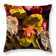 Mushrooms In Fall Leaves Throw Pillow