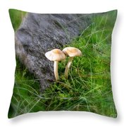 Mushrooms In Grass Throw Pillow