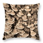 Mushrooms On A Tree Throw Pillow