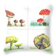 Mushrooms On Parade Collage Throw Pillow