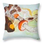 Mushrooms Time Throw Pillow