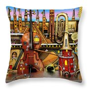 Music Castle Throw Pillow