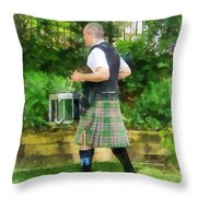 Music - Drummer In Pipe Band Throw Pillow