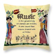 Music Fraktur Throw Pillow