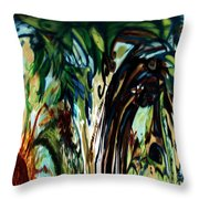 Music In Bird Of Tree Drip Painting Throw Pillow