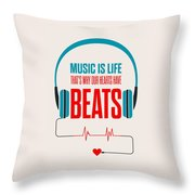 Music- Life Quotes Poster Throw Pillow