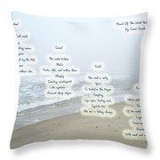 Music Of The Wind And Waves Poem On Ocean Background Throw Pillow