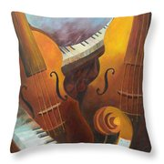 Music Relief Throw Pillow by Paula Marsh