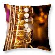 Music - Sax - Sweet Jazz  Throw Pillow by Mike Savad