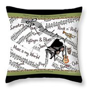 Music Tribute Throw Pillow