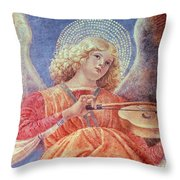 Musical Angel With Violin Throw Pillow