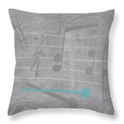 Musical Notes And Instruments Set To Gray With A Blue Drumstick Accent  Throw Pillow