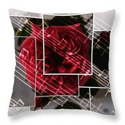 Musical Rose Montage Throw Pillow