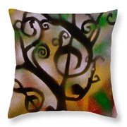 Musical Tree Golden Throw Pillow