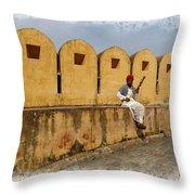 Musician - Amber Palace - India Rajasthan Jaipur Throw Pillow