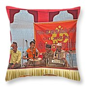 Musicians At Hindu Festival Of Ram Nawami In Kathmandu-nepal Throw Pillow