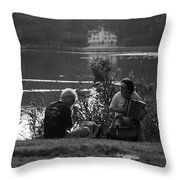 Musicians By The Pond Throw Pillow