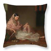 Muslim Lady Reclining Throw Pillow