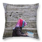 Muslim Woman At Mosque Throw Pillow