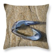 Mussel Shell On The Beach Throw Pillow