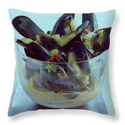 Mussels In Broth Throw Pillow