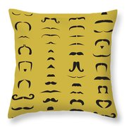 Mustache Library Poster Throw Pillow