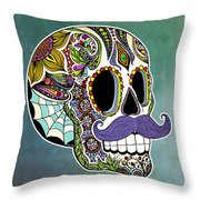 Mustache Sugar Skull Throw Pillow by Tammy Wetzel