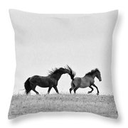 Mustangs Sparring 2 Throw Pillow by Roger Snyder