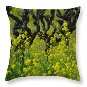 Mustard And Old Vines Throw Pillow