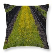Mustard Grass In Vineyards Throw Pillow