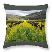 Mustard In The Vineyard Throw Pillow