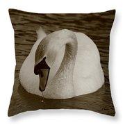 Mute Swan - In Sepia Throw Pillow