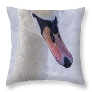 Mute Swan On Ice Throw Pillow