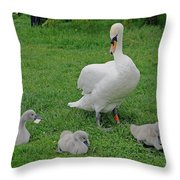 Mute Swan With Cygnets Throw Pillow