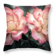 Muted Pink Roses Throw Pillow