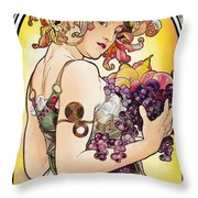 My Acrylic Painting As An Interpretation Of The Famous Artwork By Alphonse Mucha - Fruit Throw Pillow